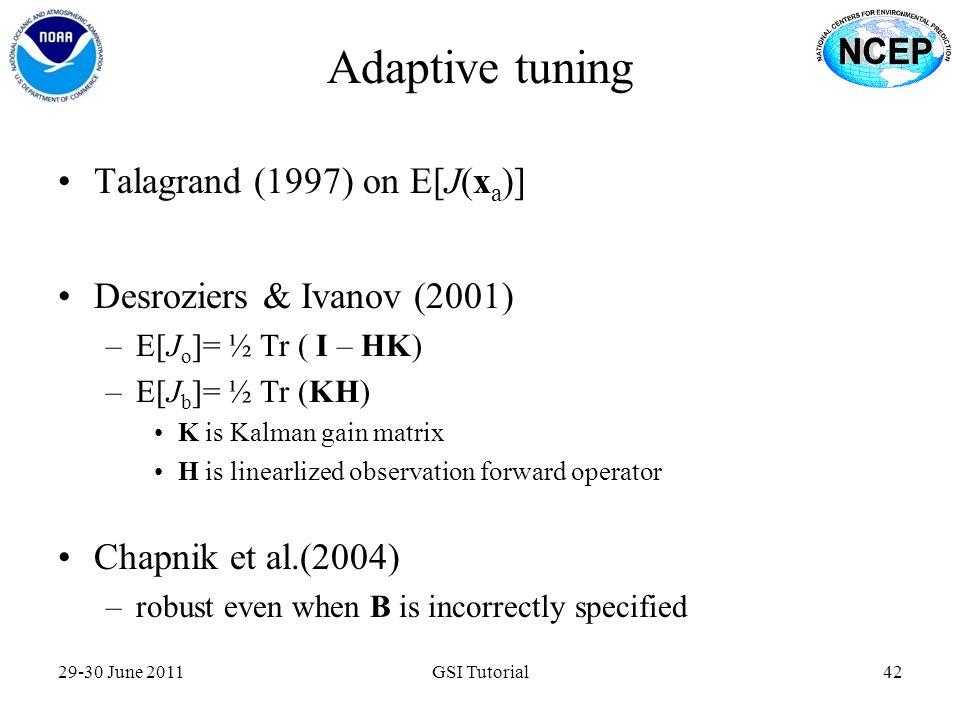 Adaptive tuning Talagrand (1997) on E[J(xa)]